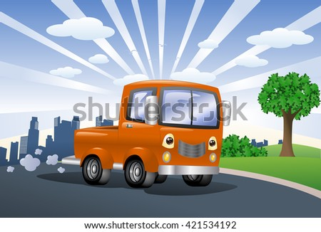 illustration of an orange pick up car on city background - stock photo