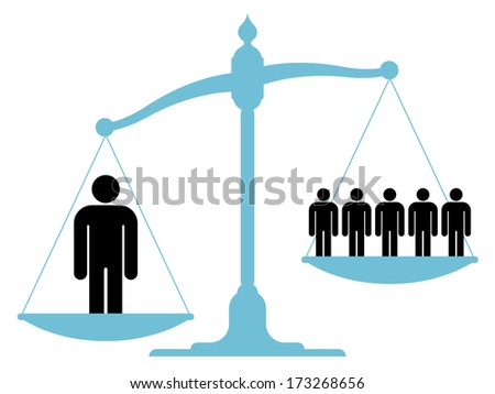 Illustration of an unbalanced vintage scale with a single man and a group of people on each of the pans showing the value of teamwork, cooperation and unification - stock photo