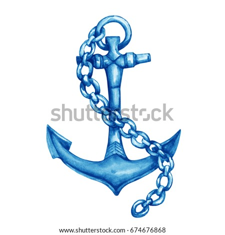 Illustration Of Antique Ship Blue Anchor With Chain Hand Drawn Watercolor Painting On White Background