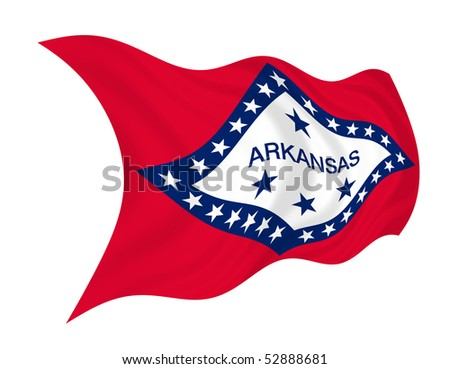 Illustration of Arkansas state flag waving in the wind - stock photo