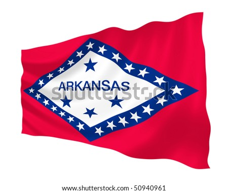 Illustration of Arkansas state flag waving in the wind (see more other flags in my collection)