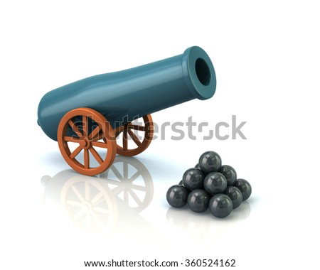 Illustration of artillery gun isolated on white background - stock photo