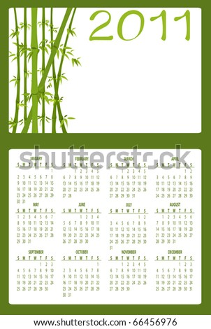 Illustration of asian style design Calendar for 2011