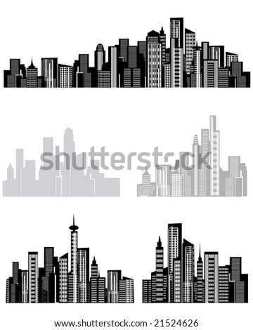 illustration of assorted city background elements - stock photo