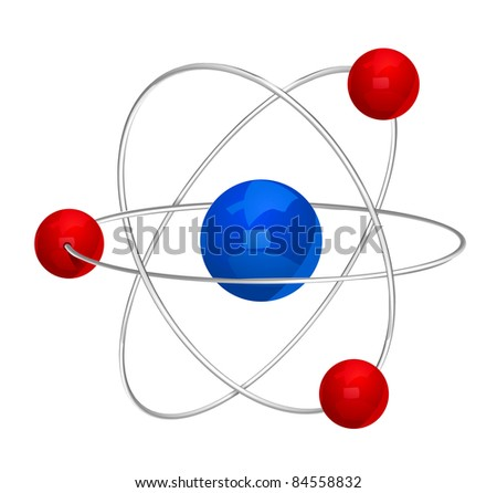 illustration of atom icon isolated on white background - stock photo