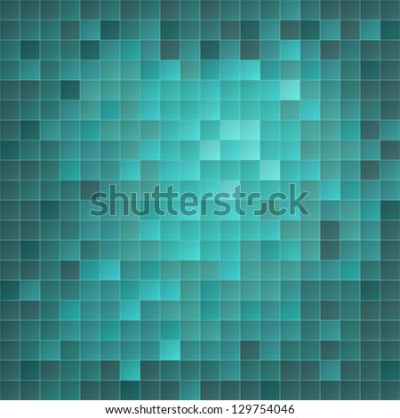 Illustration of azure tiled mosaic background - stock photo