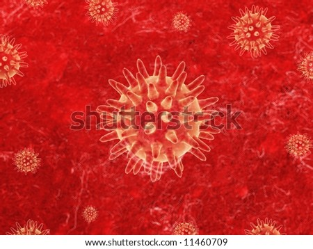 Illustration of bacteria on a red textured surface - stock photo