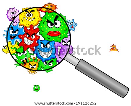 illustration of bacteria under a magnifying glass - stock photo