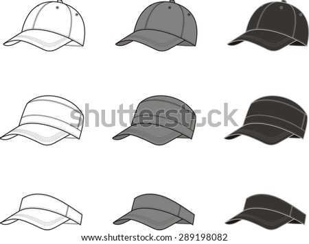Illustration of baseball cap. Different colors: white, grey, black. Raster version - stock photo