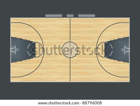 Illustration of basketball court for tactical lesson - stock photo