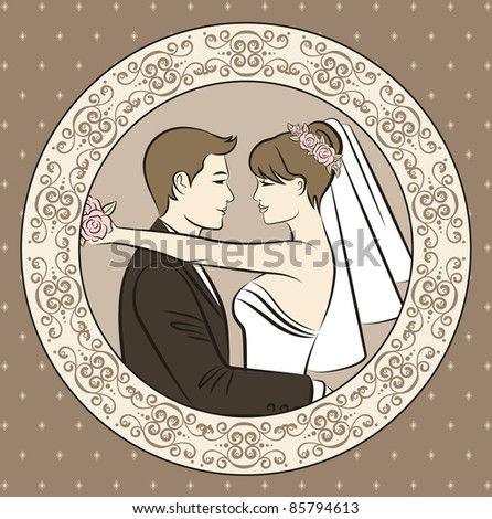 Illustration of beautiful bride and groom's silhouette