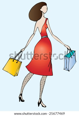 illustration of beautiful brunet holding shopping bags