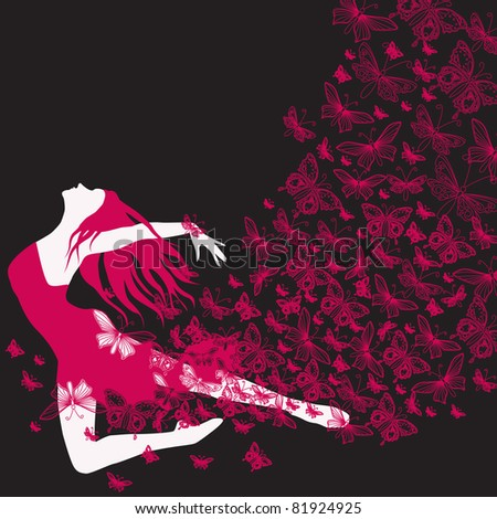 Illustration of beautiful dancing woman with butterfly dress - stock photo