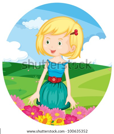 Illustration of beautiful girl in a field - EPS VECTOR format also available in my portfolio.