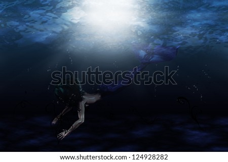 Illustration of beautiful mermaid in underwater scene
