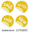 Illustration of beautiful sunflower retail stickers. Themes include sales, free shipping, retail price and new item in stock. Set 4. - stock photo