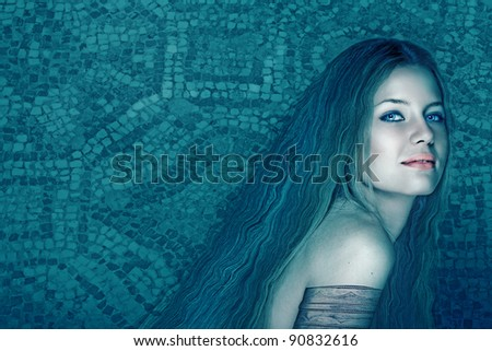 illustration of beautiful woman with long curly hair on ancient mosaic tiles in the background. - stock photo