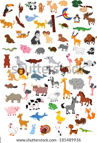 Illustration of big animal cartoon set - stock photo