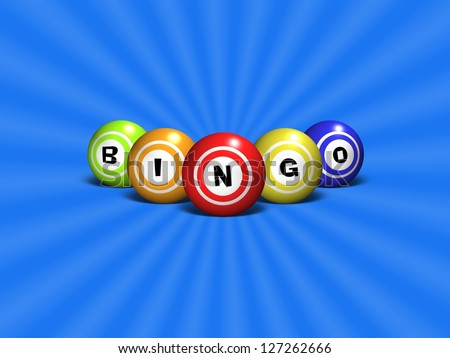 Illustration of Bingo balls spelling out the word BINGO over a blue abstract background - stock photo