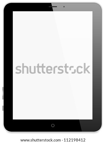 Illustration of black tablet pc same with ipade on white background - stock photo