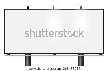Illustration of blank city billboard isolated on white background - stock photo