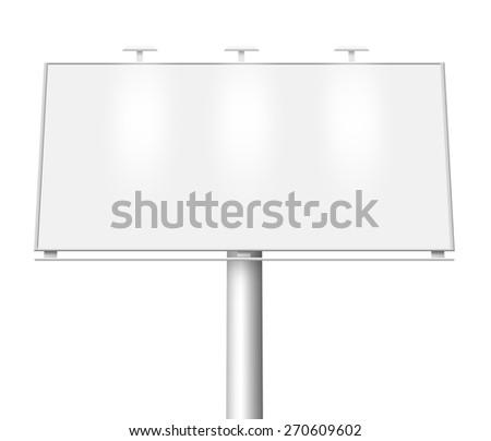 Illustration of blank city billboard isolated on white background - stock photo