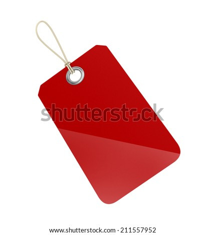 illustration of blank red tag over white background