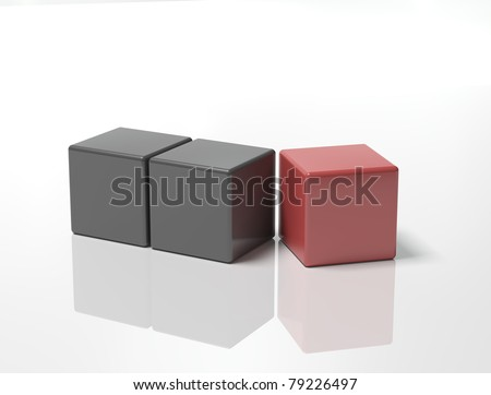 illustration of block of black cubs with final red one about to fit on corner ,isolated on white background - stock photo