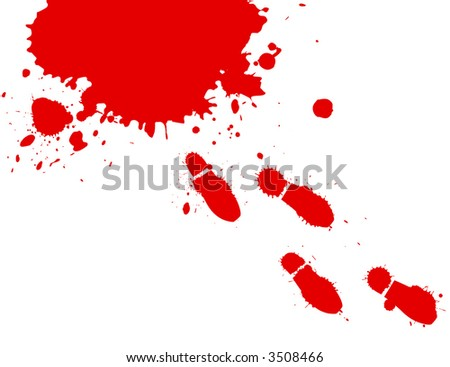 Illustration of blood splashes and foot prints over white background.