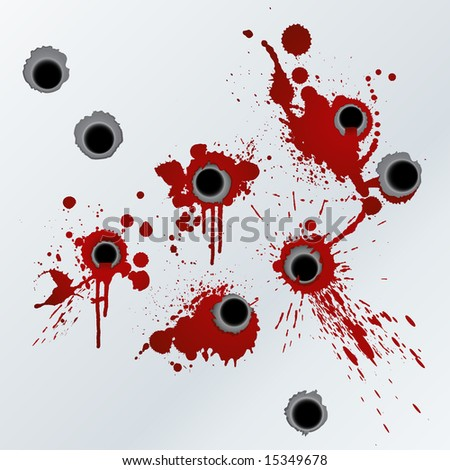 Illustration of bloody gunshots with blood splatters on the wall. - stock photo
