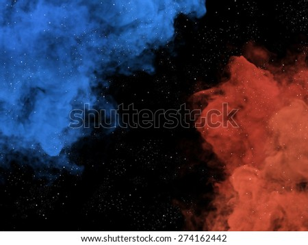 Illustration of blue and orange nebulas and stars in galaxy - stock photo