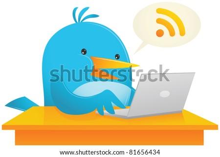 Illustration of Blue Bird Using Laptop on the desk - stock photo
