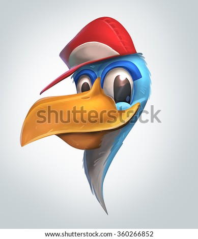 Illustration of blue bird wearing red hat and smart look in its eyes