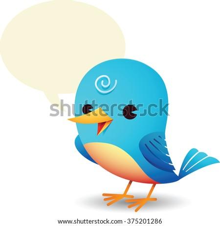 Illustration of Blue Bird with talk bubble - stock photo