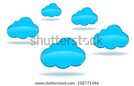 Illustration of blue clouds on a white background