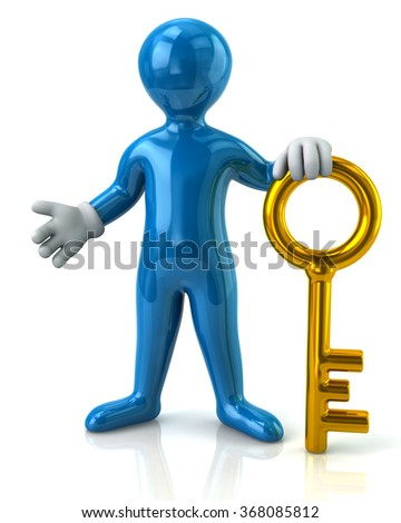 Illustration of blue man and gold key - stock photo