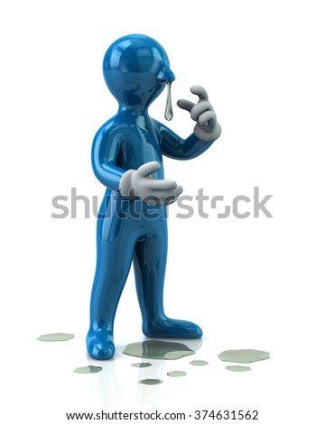 Illustration of blue man with a flu and running nose isolated on white background - stock photo