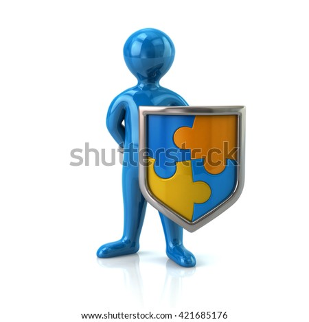 Illustration of blue man with puzzle shield isolated on white background