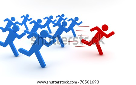 Illustration of  blue men with one red running - stock photo