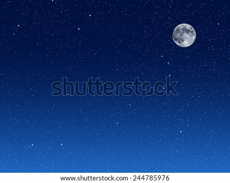 Illustration of blue night sky with moon - stock photo