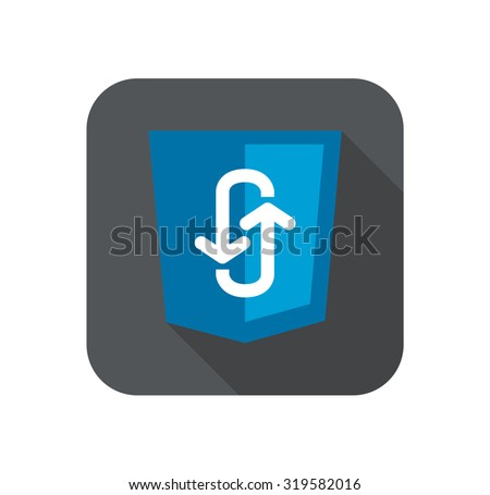 Illustration of blue shield with programming technology ajax asynchronous JavaScript, isolated web site development icon long shadow - stock photo