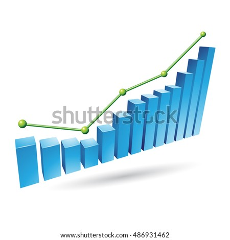 Illustration of Blue Stats Graph isolated on a white background