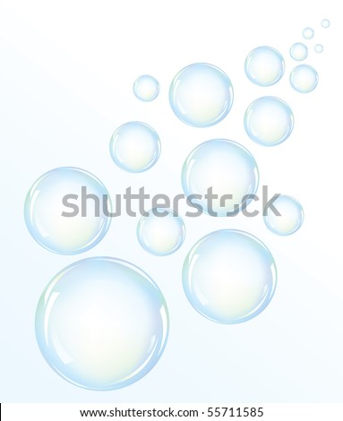 Illustration of blue water bubbles(vector also available) - stock photo