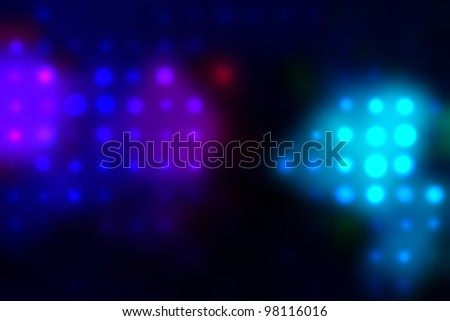 illustration of blurred neon disco light dots pattern on dark background