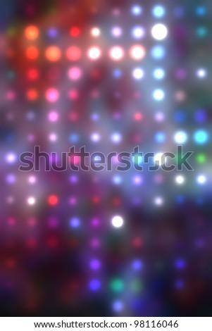 illustration of blurred neon disco light dots pattern on dark background. Light dots bokeh. Spots of sparkling blurrd lights. Blur party background.  - stock photo
