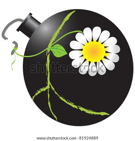 Illustration of bomb with peace symbol and daisy - stock photo