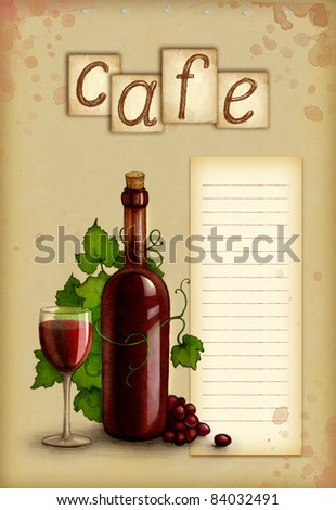 Illustration of bottle and glass of wine - stock photo