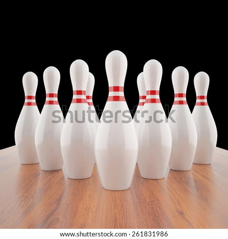 Illustration of bowling pins on a wooden floor. 3d high resolution image - stock photo