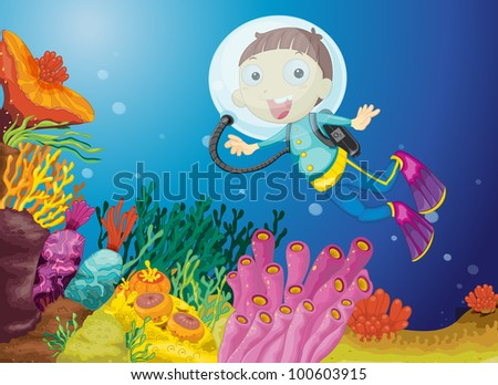 Illustration of boy scuba diving - EPS VECTOR format also available in my portfolio.