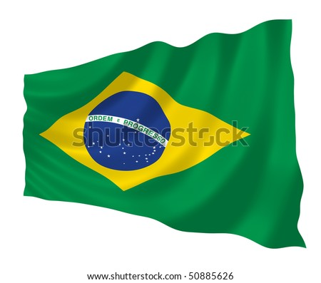 Illustration of Brazilian flag waving in the wind - stock photo
